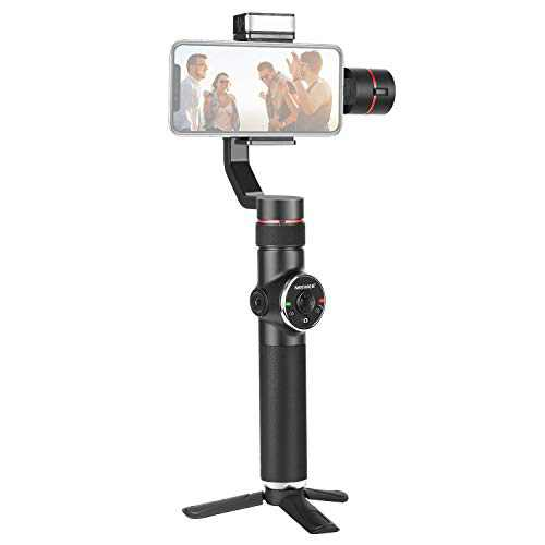 Neewer V5 3-Axis Handheld Gimbal Stabilizer, APP Support, Zoom Control/Auto Tracking/Timelapse/Panorama/LED Fill Light, Lightweight Stabilizer for YouTube/Vlog Video, Compatible with iPhone, Android