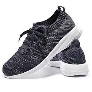 JIUMUJIPU-A04, Women's Lightweight Walking Shoes, Comfortable Walking Shoes with Memory Foam,Flexible Running Shoe (Dark Blue/Gray/A04-11, Numeric_6)