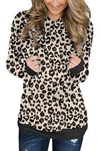 KISSMODA Womens Long Sleeve Sweatshirt Leopard Print Pullover Hoodie Blouse Drawstring Tops