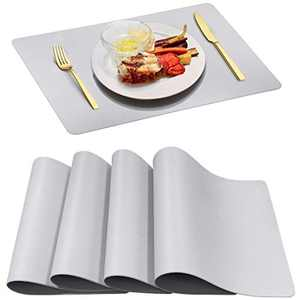 Herda Gray Placemats Leather Waterproof - Dining Table Place Mat Set of 4 Heat Resistant Wipeable Easy to Clean Wood Table Protect Mats Decor Gift Indoor Kids Kitchen Patio Washable Thick (White Grey)