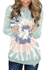 KISSMODA Womens Tie Dye Long Sleeve Hoodies Pullover Sweatshirt Tops with Drawstring Pockets
