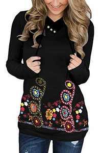 KISSMODA Women Hoodies Black Floral Printed Long Sleeve Drawstring Pullover Sweatshirts with Pocket