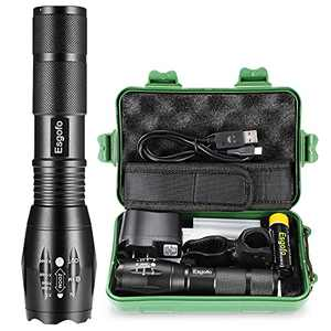 Rechargeable Flashlights High Lumens L2 LED Tactical Flash Lights High Power Torch 18650 5000mAh Battery Charger Micro USB Cable Gift Box Holster Included For Police Emergency Camping Hiking Hunting