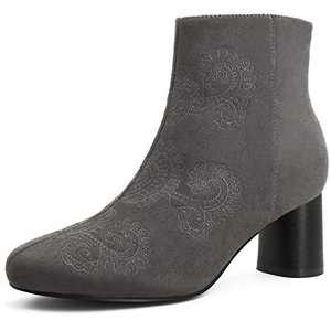 TIHOO Women's Embroidery Suede Ankle Boots Mid Cylindrical Heel Booties Brown 8