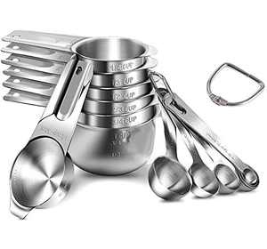 Qisebin Measuring Cups and Measuring Spoons. 304(18/8) Stainless Steel ,14 Piece Measuring Cups and Spoons Combo