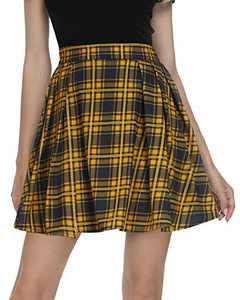Urban CoCo Women Tartan Pleated Mini Skirt (Turmeric, S)