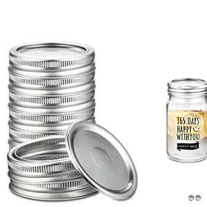 FCQ 36 Set Regular Mouth Canning Lids, Mason Jar Lids for Canning - Food Grade Material, 100% Fit and Airtight, Silver