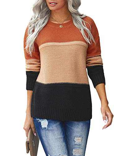 LOSRLY Juniors Womens Knit Sweater Pullover Jumper Contrast Color Block Long Sleeve Round Neck Casual Tops Orange Medium
