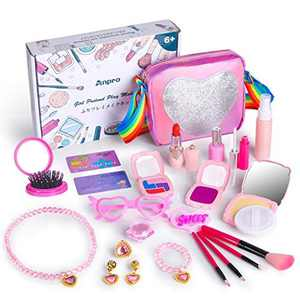 Anpro Pretend Kids Makeup Set - 23pcs Makeup Kits for Girls,Include Pink Cosmetic Bag Heart-Shaped Spectacle Frame Lipstick Eye Shadow, etc. Ideal Christmas Birthday Gifts Toys for Girls