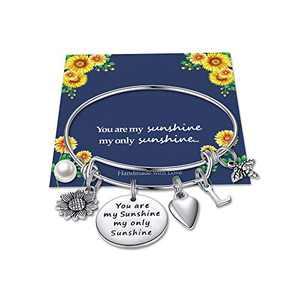 Sunflower Charm Bracelets for Women Girls, Stainless Steel Expandable Bangle Bracelets Letter Sunflower Bee You are My Sunshine My Only Sunshine Initial Charm Sunflower Bracelets Jewelry Gift L