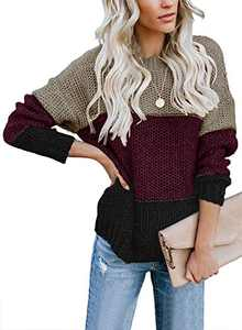 LOSRLY Womens Crew Neck Long Sleeve Color Block Knit Sweater Casual Pullover Jumper Tops Red Large