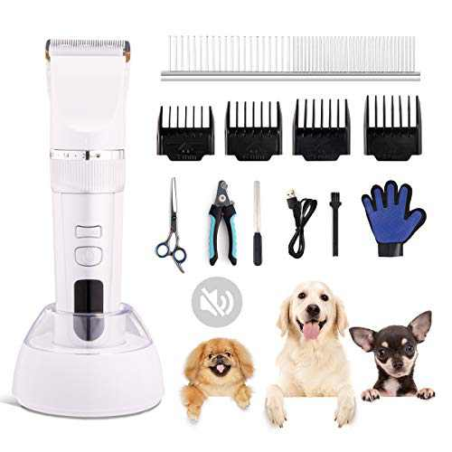 Rolife Dog Shaver Clippers Low Noise Rechargeable Cordless Electric Quiet Hair Clippers Set for Small and Large Dogs Cats Animals,Whtie