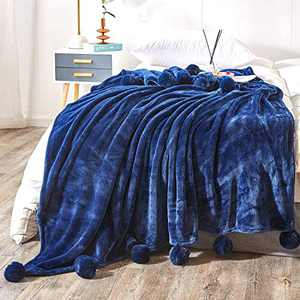 Andywoo Pom Pom Navy Throw Blanket for Autumn and Winter, Lightweight Cozy Fluffy Flannel Bed Blanket, Warm and Thick Fleece Blanket for Bed, Sofa, 50 x 60 Inches