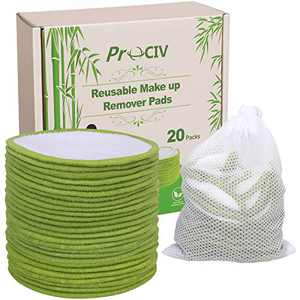 Reusable Cotton Rounds - 20 Pack Reusable Cotton Pads With Washable Laundry Bag Large Makeup Remover Pads for Toner Eco-Friendly Organic Bamboo Cotton (Green)