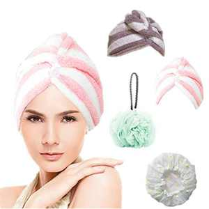Walk Diary Microfiber Hair Towel Wrap with Bath Shower Loofah Sponge Pouf and Waterproof Bathing Shower Hat 4 Pack