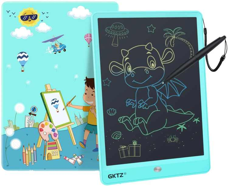 GKTZ LCD Writing Tablet ,10 Inch Colorful Screen Electronic Portable Drawing Board Handwriting Doodle Drawing Pad Message Memo Board for Kids Adult Home School Office(Blue)