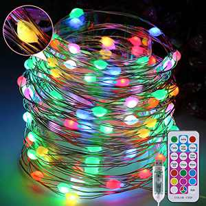 Fairy Lights 33ft 100LEDs Outdoor String Lights Point Control RGB Linear Lamp USB Plug in 12 Colors and Modes LED Lights for Bedroom Garden Tree Atmosphere Waterproof Wedding Lights