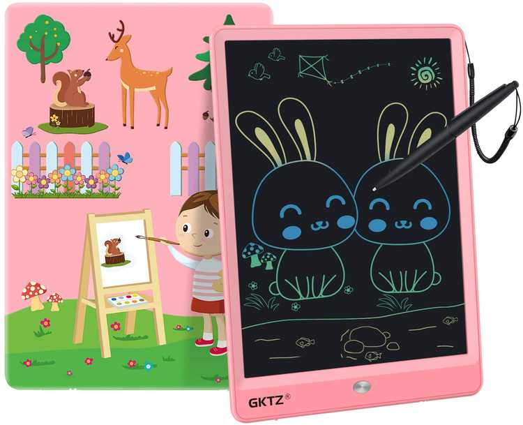 GKTZ LCD Writing Tablet ,10 Inch Colorful Screen Electronic Portable Drawing Board Handwriting Doodle Drawing Pad Message Memo Board for Kids Adult Home School Office(Pink)