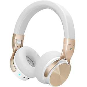 Riwbox BN5 Bluetooth Headphones Over Ear, Folding Stereo Headphones Wired Wireless with Mic Compatible for iPhone/iPad/TV/PC/Online Class/Home Office (White&Gold)