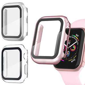Recoppa 3 Pack Apple Watch case with Screen Protector for Apple Watch 40mm Series 6/5/4/SE, Full Hard Cover Ultra-Thin Bumper HD Clear Protective Film Scratch Resistant for Women Men iWatch