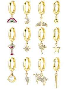 Besteel 12Pcs Cartilage Hoop Dangle Earrings for Women Men Gold-Plated Huggie Hoop Earrings Set Spike Star Moon Dainty Charm Jewlry Set
