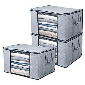 BoxLegend Clothes Storage Bags Large Capacity Organizer with Reinforced Handle Thick Fabric Large Clear Window (3PCS/604335cm)