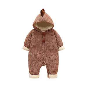 ATHEMEET Baby Toddler Boy Girl Winter Dinosaur Snowsuit Fleece Hooded Romper Jumpsuit Brown 12-18M