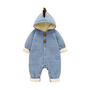 ATHEMEET Infant Baby Jumpsuit Winter Warm Snowsuit Romper Cute Dinosaur Fleece Hooded Blue 12-18M