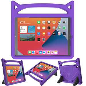 "MOXOTEK Kids Case for New iPad 10.2 2020 (8th Gen) / 10.2 2019(7th Gen) / Air 3rd Generation(10.5"") / Pro 10.5 inch,Durable Shockproof Protective Handle Stand Bumper Case for iPad 7/8/Air 3, Purple"