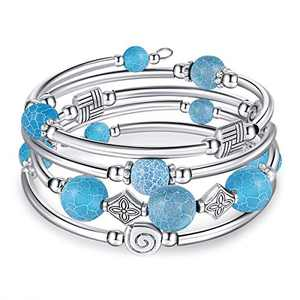 kese Chakra Bracelet, Multilayer Turquoise Bracelet Women Crystal Bracelet Natural Stone Bangle for Girls (lanwenshiC)