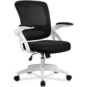 ComHoma Office Chair Ergonomic Desk Chair Mesh Computer Chair with Flip Up Armrest Mid Back Task Home Office Chair Swivel Chair with Smooth Casters White