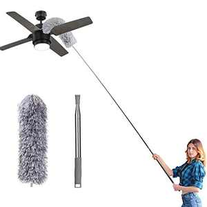 """Microfiber Feather Duster for Cleaning, 100"""" Extension Pole Telescoping Duster, Bendable & Washable Dusters for Clean Cobwebs, Ceiling Fan, High Ceiling, Blinds, Furniture, Cars"""