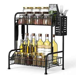 Mehoom Spice Rack Organizer for Countertop with Utensil Side Container Kitchen Rack Can 2-Tier Standing Seasoning Racks Black Counter Organizers and Storage 3 Hooks Metal Step Shelf for Cabinet Pantry, Bathroom, and Office