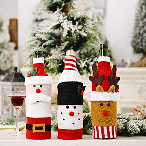 Christmas Decorations Clearance,Cute Christmas Decorations 3pc Wine Label For Bottle