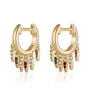 Gold Spikes Earrings for Women, S925 Sterling Silver Post CZ Spikes Drop Dangle Earring CZ Spikes Huggie Stud Earrings for Women Jewelry