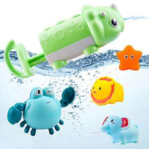 Baby Bath Toys for Toddlers 1-3 Year Old Boys Girls & 6 to 12 Months Bathtub Toy with Dinasour Water Spray Toys, Floating Toys, Windup Crab, Birthday Gifts for 1 2 3 Year Old Boys Girls Kids, 5 Set