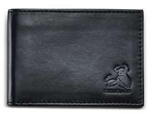 Mens RFID Bifold Wallet Front Pocket Slim Design In Soft Genuine Leather With ID Window and Gift Box - Midnight Black