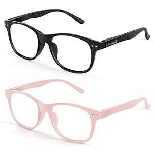 FONHCOO Blue Light Blocking Glasses Women/Men, Computer Glasses 2 Pack, Gaming Glasses with Anti Eyestrain & UV Glare Black & Pink