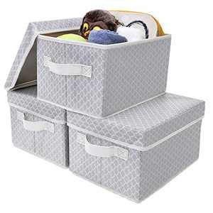 GRANNY SAYS Storage Bin with Lid, Kid's Storage Box, Toy Storage Basket Nursery Storage Containers with Lids, Medium, Gray/Beige, 3-Pack