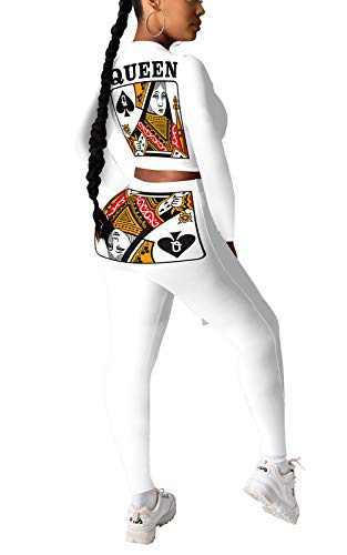 Kafiloe Women 2 Piece Tracksuit Outfits Long Sleeve Pullover Sweatshirt Skinny Legging Pants Set Casual Sweatsuit White M