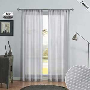 Beauoop Striped Sheer Window Cutain Panels 72 Inches Long for Living Room/Bedroom/Patio Horizontal Pinstripe Linen Texture Drapes Voile Rod Pocket Window Treatment Set, 38 x 72 Inch, 2 Panels, Gray