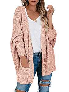 Boncasa Womens Chunky Popcorn Cardigan Oversized Open Front Fuzzy Boyfriend Batwing Long Sleeve Knit Sweaters Pink 2BC30-fense-3XL
