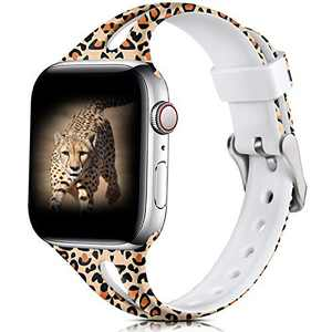 Easuny Cheetah Band Compatible for Apple Watch 42mm 44mm Womens Girls,Slim Bands Soft Silicone Cute for Apple Watch SE, iWatch Printed Thin for Apple Watch Series 6/5/4/3/2/1 M/L, Crack Leopard