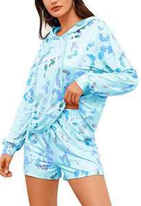 Women Pajamas Tie Dye Print Lounge Sets Long Sleeve Henley Tops and Drawstring Shorts Pants PJ Set Sleepwear Loungewear (Light Blue, Small)