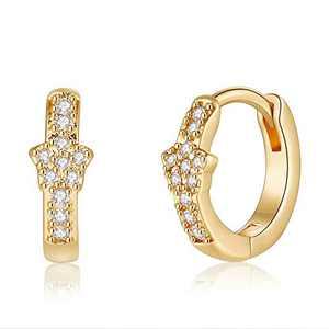 Dainty CZ Star Earrings for Women Jewelry, S925 Sterling Silver Post CZ Star Dangle Drop Earring Small CZ Star Earrings for Women Toddler Jewelry
