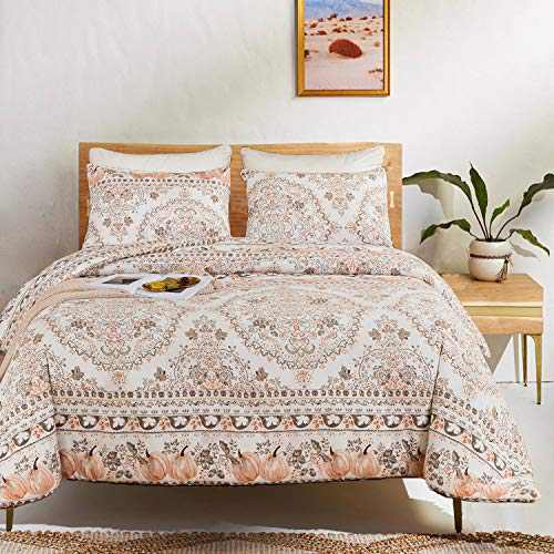 Luxlovery Bohemian Blush Floral Comforter Set Queen Boho Bedding Comofrter Sets Full Aesthetic Comforter Women Girls Breathable 3 Pcs Garden Comforter Set