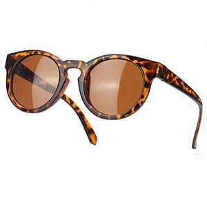 SODQW Polarized Sunglasses for Women, Vintage Retro Round Womens Sunglasses with UV400 Protection (Tortoise Frame/Brown Polarized Lens)