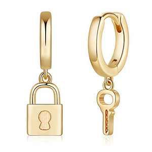 Key Lock Earrings for Women, S925 Sterling Silver Post Small Asymmetric Key Dangle Earrings Hypoallergenic Huggie Padlock Earrings for Women Jewelry Gifts