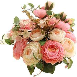 Artificial Fake Flowers Real Touch Plants Silk Plastic Roses Flower Arrangements Wedding Bouquets Decorations Floral Table Centerpieces for Home Wedding Party Garden Decor (Pink champagne)