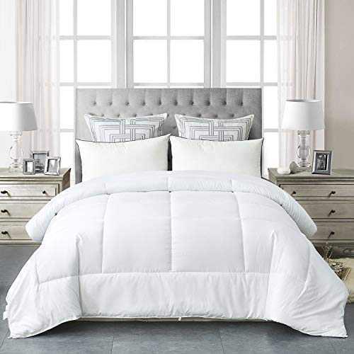 HAOK Queen Comforter Duvet Insert - 350GSM Down Alternative White Comforter, Box-Stitched Bed Comforter, 8 Corner Tabs(White, Queen)